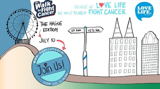 Team The Hague, a group of women joining forces to organize a Walk to Fight Cancer in our beloved The Hague city. Their aim is to raise money for cancer research and prevention via the foundation Love Life. Fight Cancer, supporting KWF Dutch Cancer Society.    You can participate!  Join 12,5 or 25 km Walk to Fight Cancer / The Hague on July 10, 2021, and invite your family & friends, colleagues, and everyone you may think of to sponsor you personally. We believe that all of us together, participants walking, their sponsors, and organizations can make an impact.    Love life  Walk to Fight Cancer's main focus is on raising money for Love Life. Fight Cancer! The organizers profoundly love life. Therefore, their aim is to organize an event that breathes good vibes. They want to use this opportunity to promote our city and to raise awareness for (non) littering & sustainability. Quite a promise, but they want to make that effort, showing you the best of our city walking its streets, parks & sights while keeping our footprint limited. Join them. Love life!    Save the date! July 10, 2021  Walk to Fight Cancer / The Hague is a Corona-proof event. As restrictions may be altered between now and July 10, we'll keep you updated with the latest information close to the date. Follow us on Facebook and Instagram @lovelifewalkthehague www.facebook.com/lovelifewalkthehague and www.instagram.com/lovelifewalkthehague    Next steps  Register for The Hague via https://www.fightcancer.nl/register/walk-to-fight-cancer/default. (Choose Den Haag from the list). Your contribution to participate in the Walk to Fight Cancer / The Hague is €15*. You can create your own page and start inviting sponsors right away! The route designers and creative minds are busy offering you a wonderful experience while walking to raise money for a great cause. It's going to be fun!    * Your contribution of €15 will be partly used to organize the event in The Hague. Also, Walk to Fight Cancer will take care of