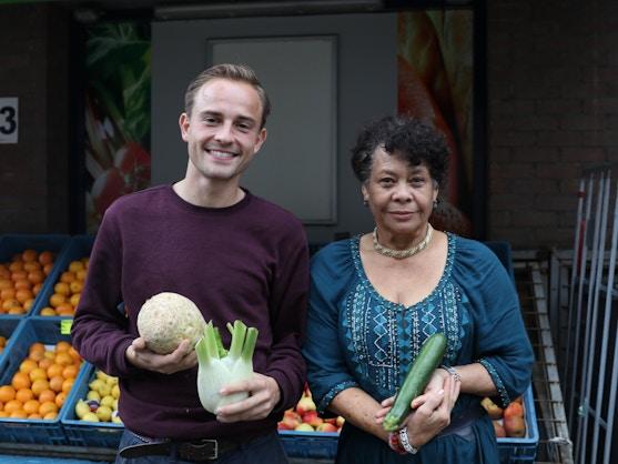 max kranendijk from Oma's Soep holding vegetables