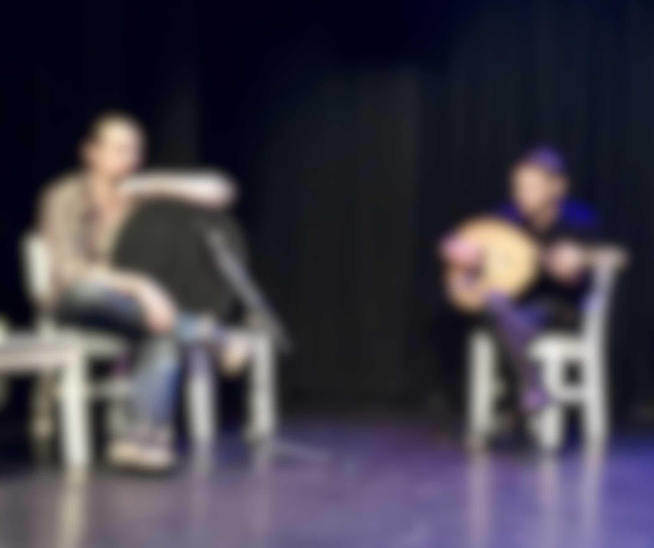 syrische muzikanten bij themavoorstelling
